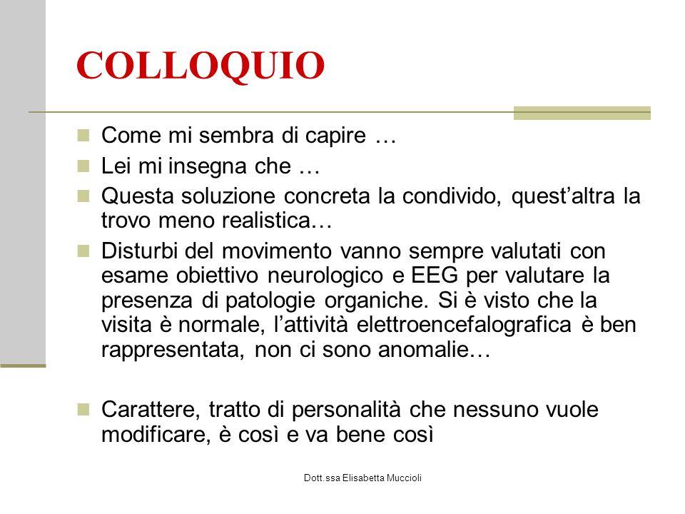 Dott.ssa Elisabetta Muccioli COLLOQUIO Come mi sembra di capire … Lei mi insegna che … Questa soluzione concreta la condivido, questaltra la trovo men
