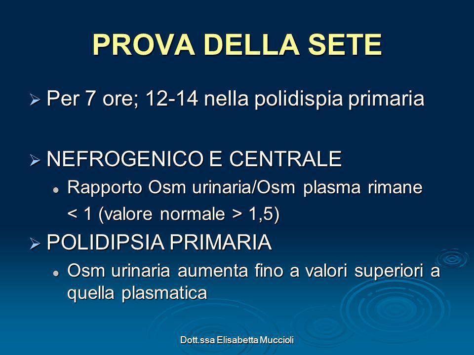 Dott.ssa Elisabetta Muccioli PROVA DELLA SETE Per 7 ore; 12-14 nella polidispia primaria Per 7 ore; 12-14 nella polidispia primaria NEFROGENICO E CENT
