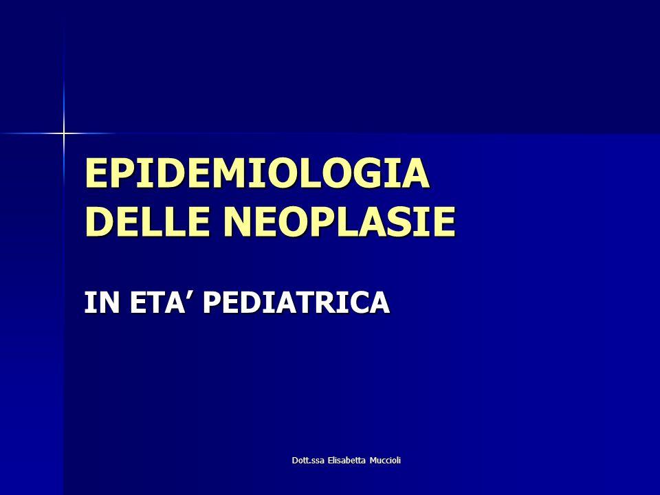 Dott.ssa Elisabetta Muccioli EPIDEMIOLOGIA DELLE NEOPLASIE IN ETA PEDIATRICA