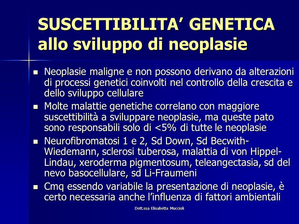 Dott.ssa Elisabetta Muccioli SUSCETTIBILITA GENETICA allo sviluppo di neoplasie Neoplasie maligne e non possono derivano da alterazioni di processi ge