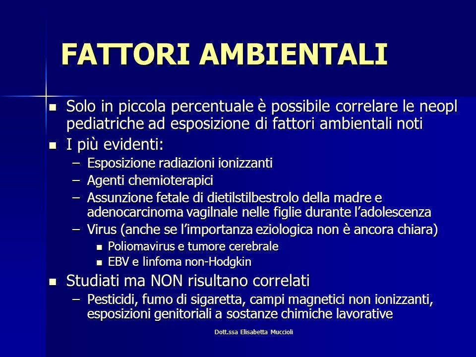 Dott.ssa Elisabetta Muccioli FATTORI AMBIENTALI Solo in piccola percentuale è possibile correlare le neopl pediatriche ad esposizione di fattori ambie
