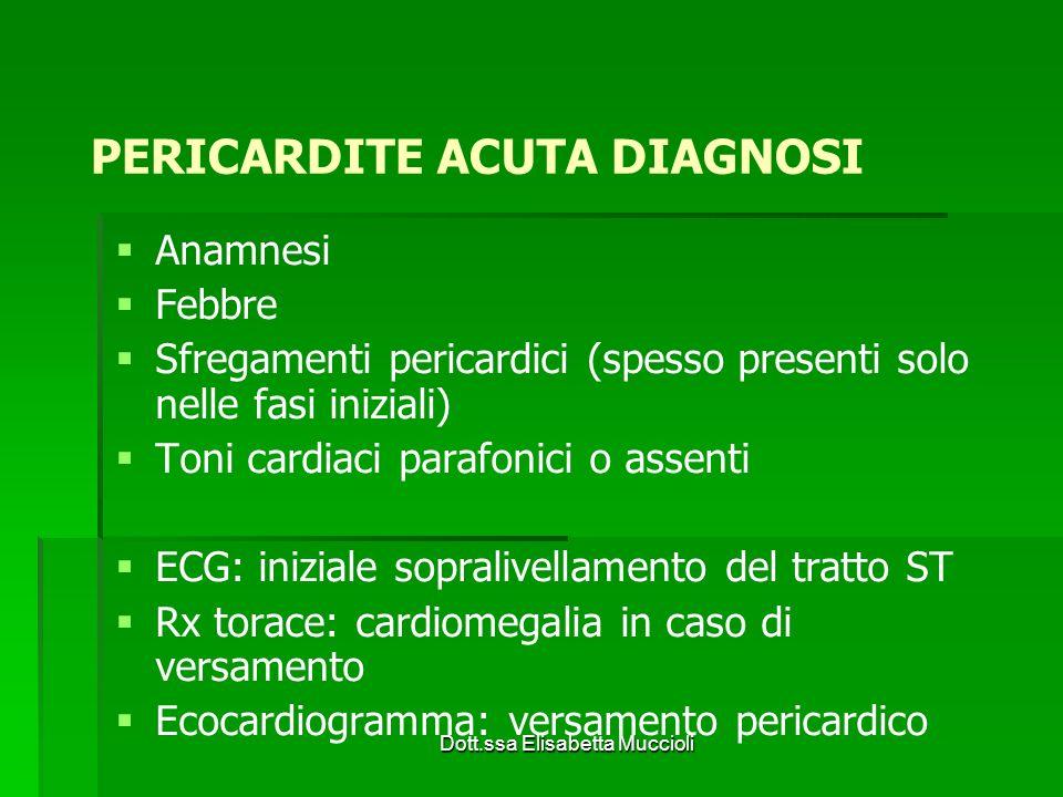 Dott.ssa Elisabetta Muccioli Anamnesi Febbre Sfregamenti pericardici (spesso presenti solo nelle fasi iniziali) Toni cardiaci parafonici o assenti ECG