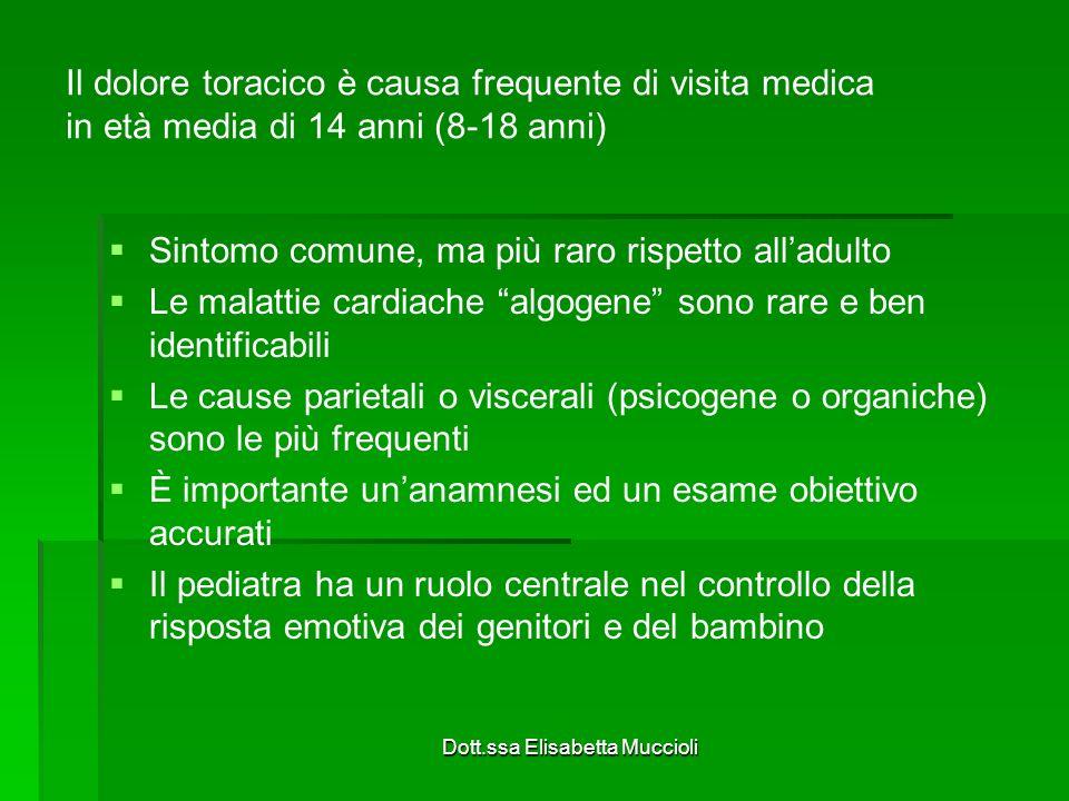 Dott.ssa Elisabetta Muccioli Il dolore toracico è causa frequente di visita medica in età media di 14 anni (8-18 anni) Sintomo comune, ma più raro ris