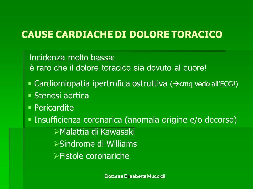 Dott.ssa Elisabetta Muccioli CAUSE CARDIACHE DI DOLORE TORACICO Cardiomiopatia ipertrofica ostruttiva ( cmq vedo allECG!) Stenosi aortica Pericardite