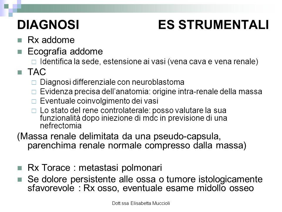 Dott.ssa Elisabetta Muccioli DIAGNOSI ES STRUMENTALI Rx addome Ecografia addome Identifica la sede, estensione ai vasi (vena cava e vena renale) TAC D