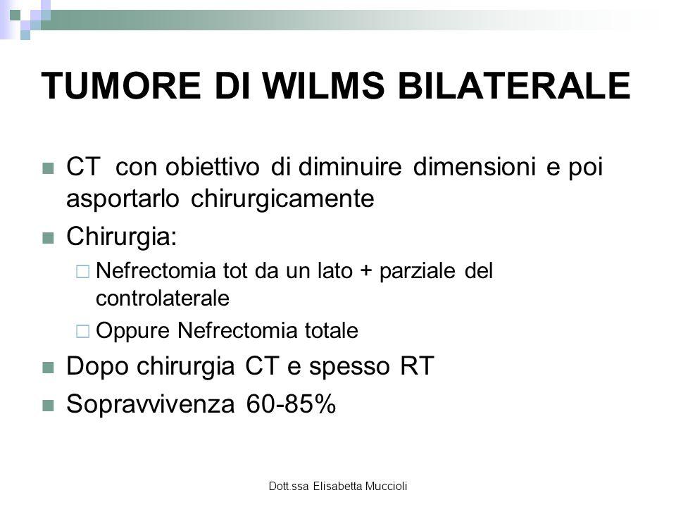 Dott.ssa Elisabetta Muccioli TUMORE DI WILMS BILATERALE CT con obiettivo di diminuire dimensioni e poi asportarlo chirurgicamente Chirurgia: Nefrectom