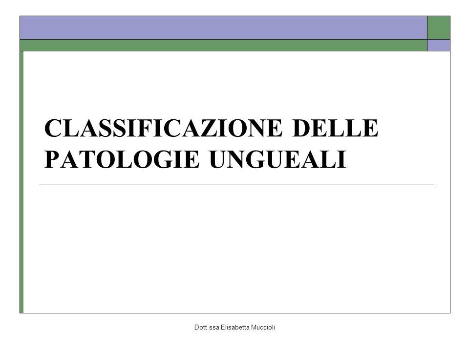 Dott.ssa Elisabetta Muccioli CLASSIFICAZIONE DELLE PATOLOGIE UNGUEALI