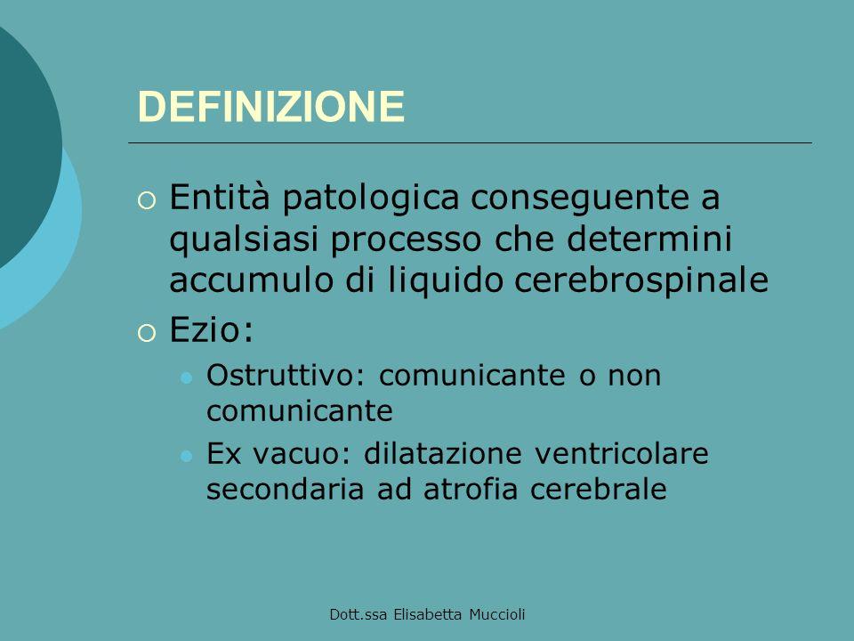 Dott.ssa Elisabetta Muccioli DEFINIZIONE Entità patologica conseguente a qualsiasi processo che determini accumulo di liquido cerebrospinale Ezio: Ost