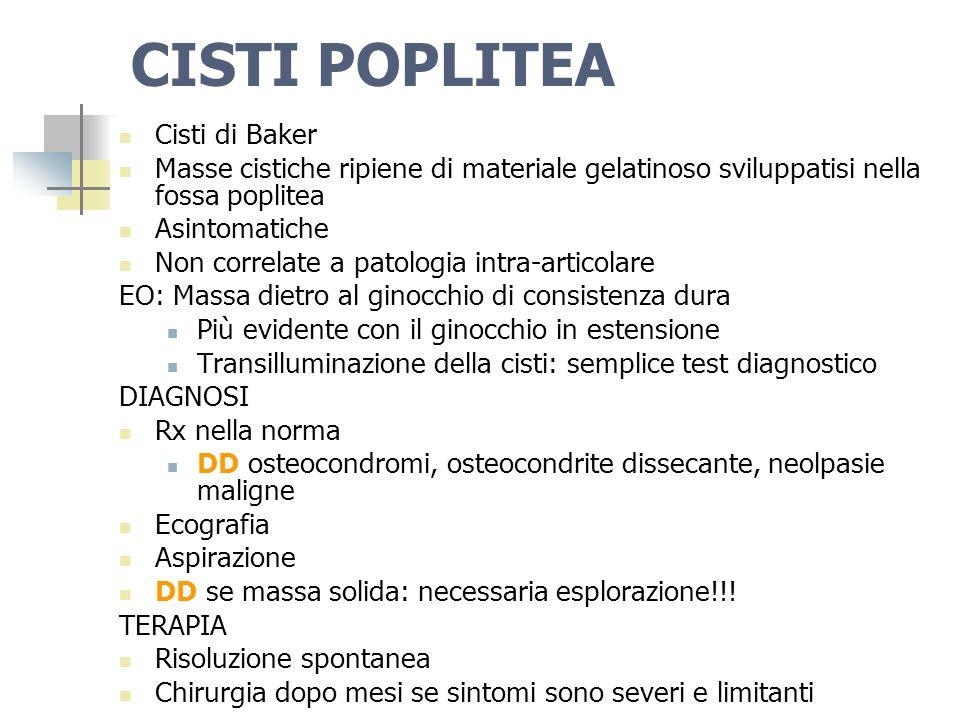Dott.ssa Elisabetta Muccioli CISTI POPLITEA Cisti di Baker Masse cistiche ripiene di materiale gelatinoso sviluppatisi nella fossa poplitea Asintomati