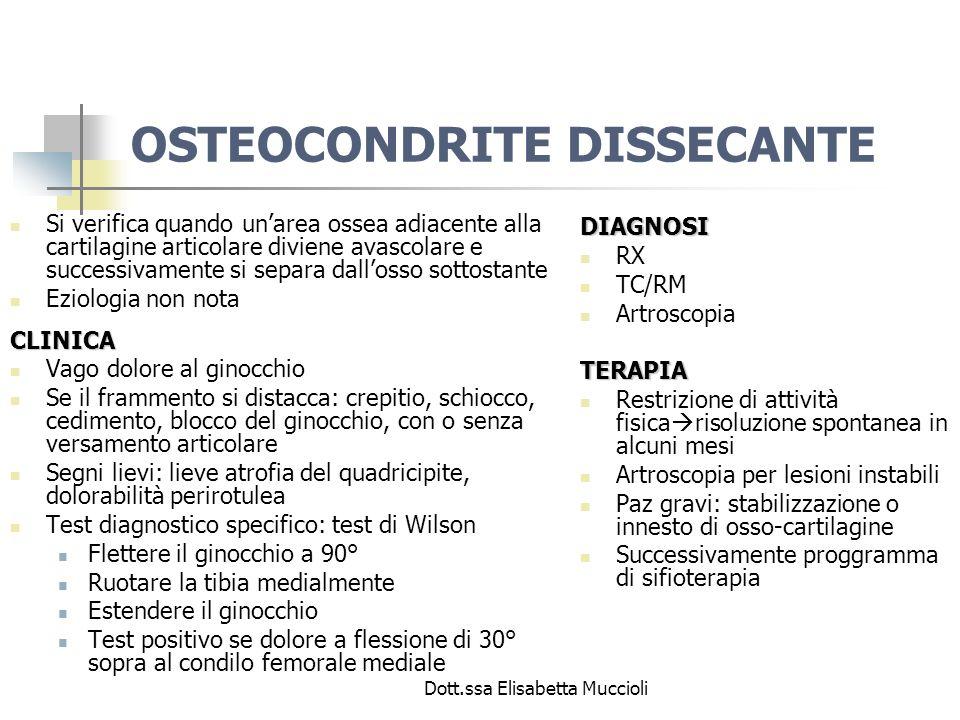 Dott.ssa Elisabetta Muccioli OSTEOCONDRITE DISSECANTE Si verifica quando unarea ossea adiacente alla cartilagine articolare diviene avascolare e succe