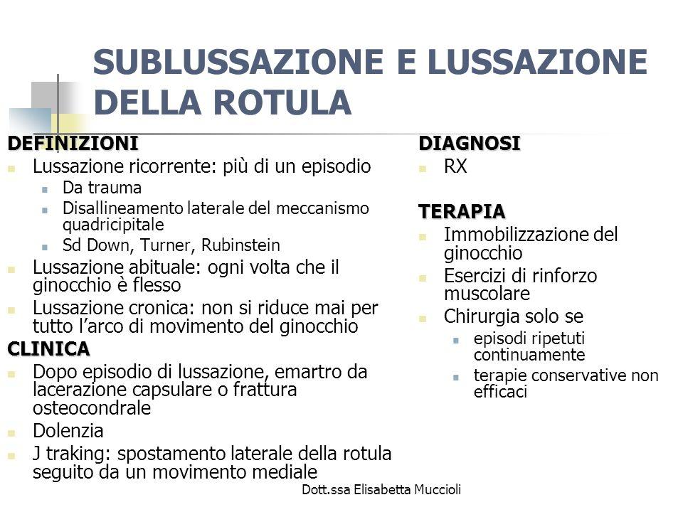Dott.ssa Elisabetta Muccioli SUBLUSSAZIONE E LUSSAZIONE DELLA ROTULA DEFINIZIONI Lussazione ricorrente: più di un episodio Da trauma Disallineamento l