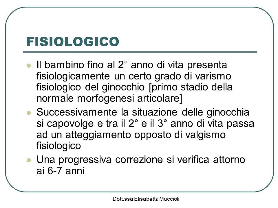 Dott.ssa Elisabetta Muccioli FISIOLOGICO Il bambino fino al 2° anno di vita presenta fisiologicamente un certo grado di varismo fisiologico del ginocc