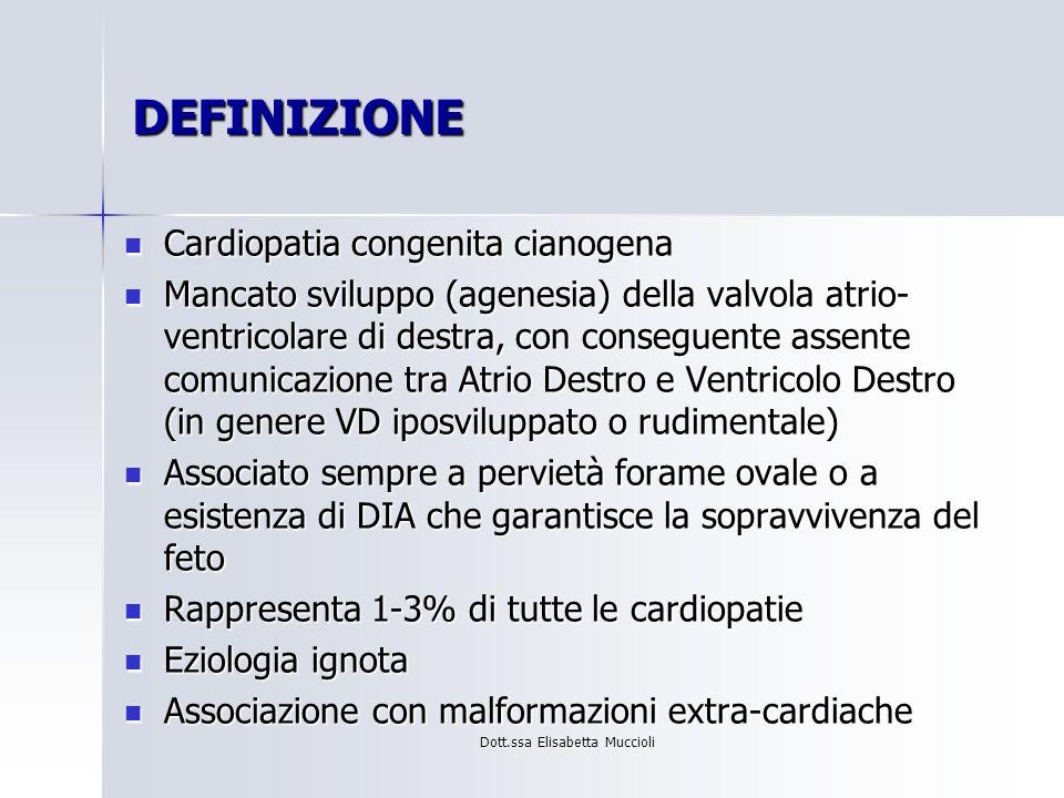Dott.ssa Elisabetta Muccioli DEFINIZIONE Cardiopatia congenita cianogena Cardiopatia congenita cianogena Mancato sviluppo (agenesia) della valvola atr