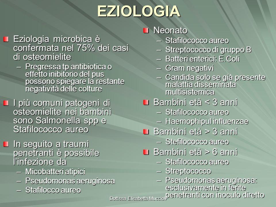 Dott.ssa Elisabetta MuccioliEZIOLOGIANeonato –Stafilococco aureo –Streptococco di gruppo B –Batteri enterici: E.Coli –Gram negativi –Candida solo se g