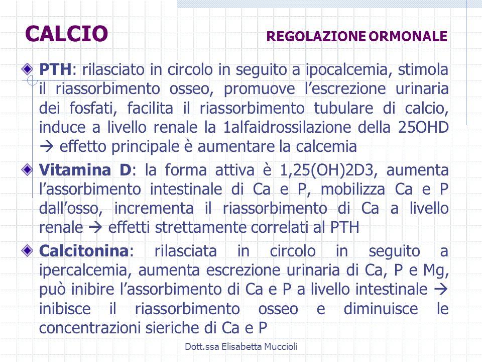 Dott.ssa Elisabetta Muccioli PTH: rilasciato in circolo in seguito a ipocalcemia, stimola il riassorbimento osseo, promuove lescrezione urinaria dei f