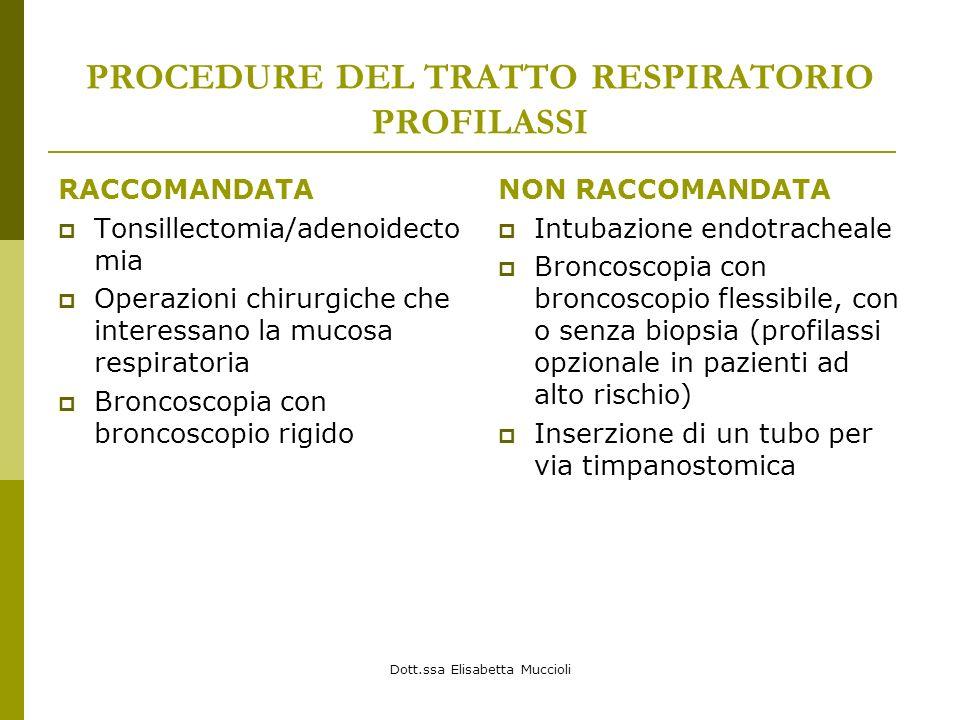 Dott.ssa Elisabetta Muccioli PROCEDURE DEL TRATTO RESPIRATORIO PROFILASSI RACCOMANDATA Tonsillectomia/adenoidecto mia Operazioni chirurgiche che inter