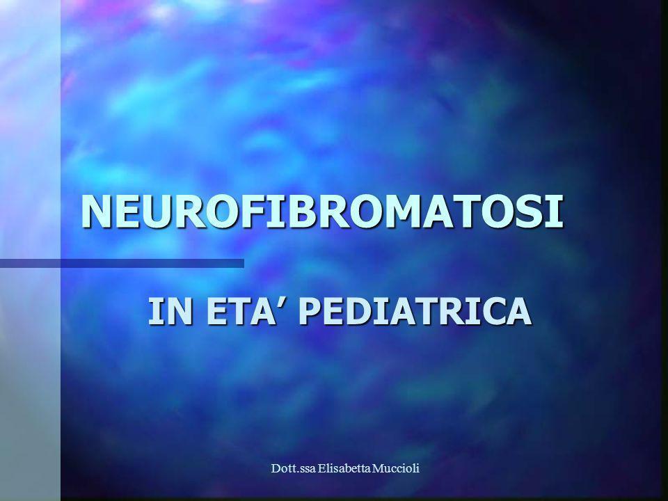 Dott.ssa Elisabetta Muccioli DEFINIZIONE Gruppo eterogeneo di malattie genetiche neuroectodermiche Gruppo eterogeneo di malattie genetiche neuroectodermiche Classificazione in 2 forme diverse secondo la clinica e la genetica Classificazione in 2 forme diverse secondo la clinica e la genetica NF 1 NF 1 più frequente più frequente Cromosoma 17 - gene 17q11.2 Cromosoma 17 - gene 17q11.2 NF 2 NF 2 Cromosoma 22 - gene 22q12.2 Cromosoma 22 - gene 22q12.2 Altre secondo Riccardi con clinica più sfumata Altre secondo Riccardi con clinica più sfumata NF tipo 3,4,5,6,7,8 NF tipo 3,4,5,6,7,8