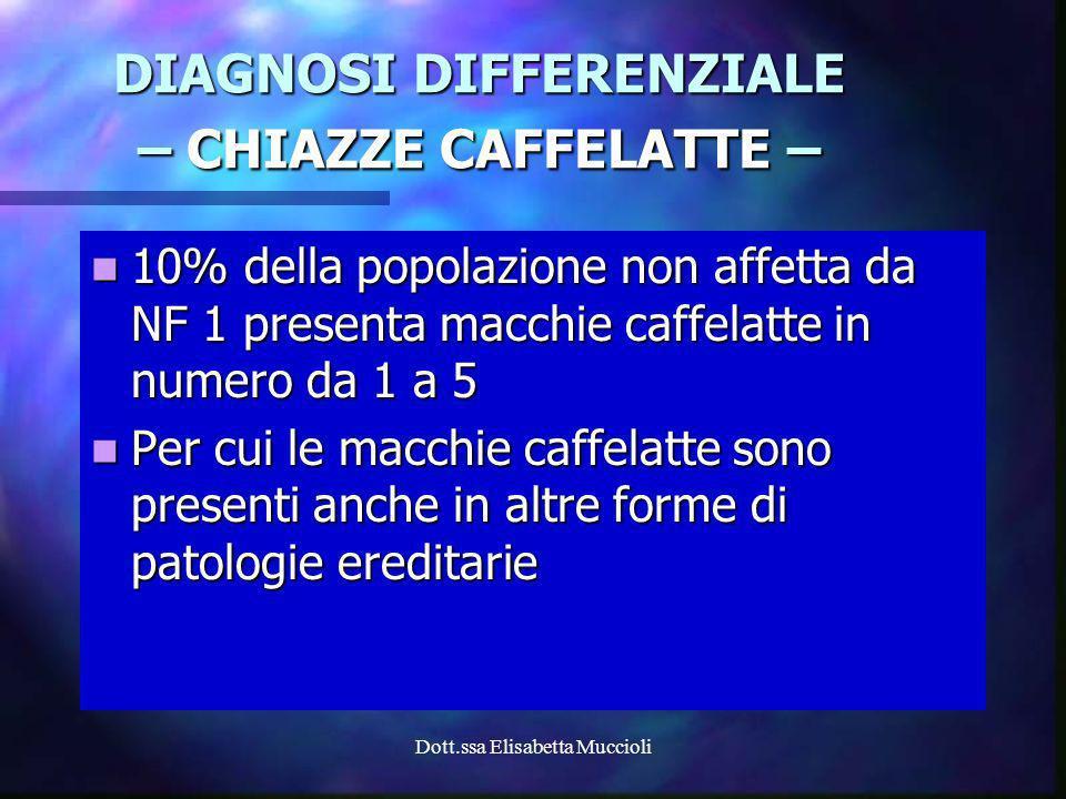 Dott.ssa Elisabetta Muccioli 10% della popolazione non affetta da NF 1 presenta macchie caffelatte in numero da 1 a 5 10% della popolazione non affett