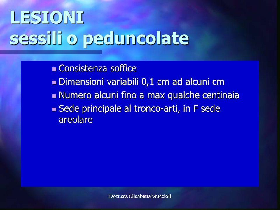 Dott.ssa Elisabetta Muccioli LESIONI sessili o peduncolate Consistenza soffice Consistenza soffice Dimensioni variabili 0,1 cm ad alcuni cm Dimensioni