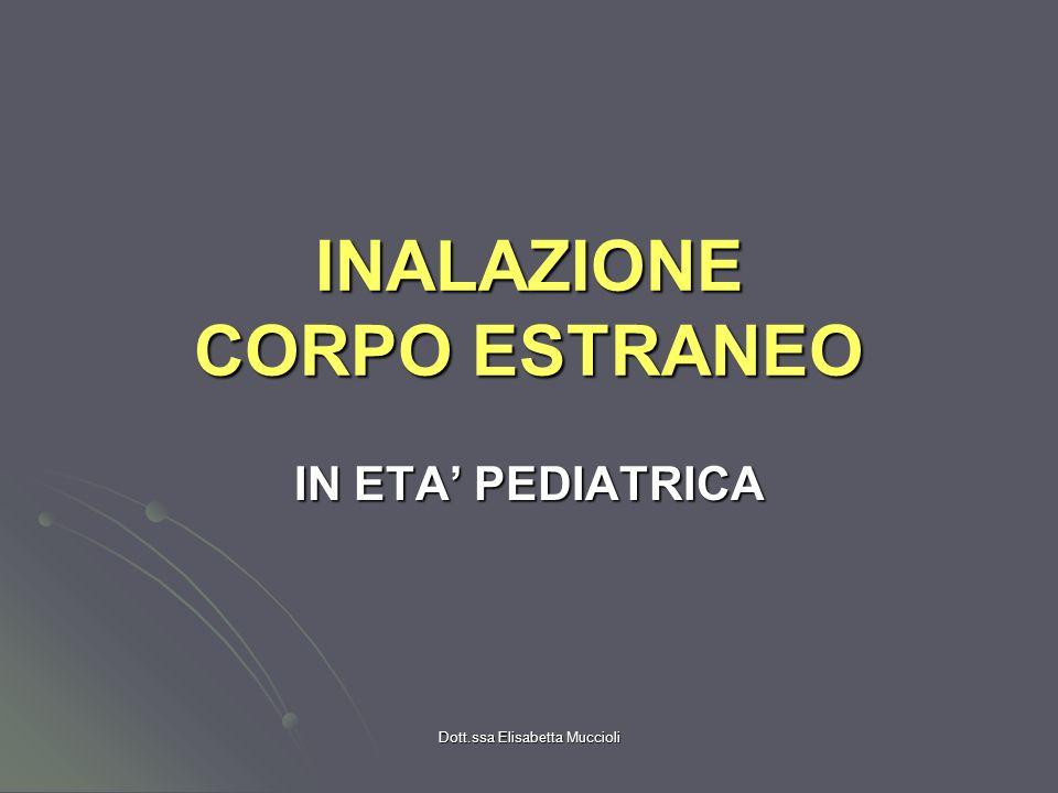 Dott.ssa Elisabetta Muccioli INALAZIONE CORPO ESTRANEO IN ETA PEDIATRICA