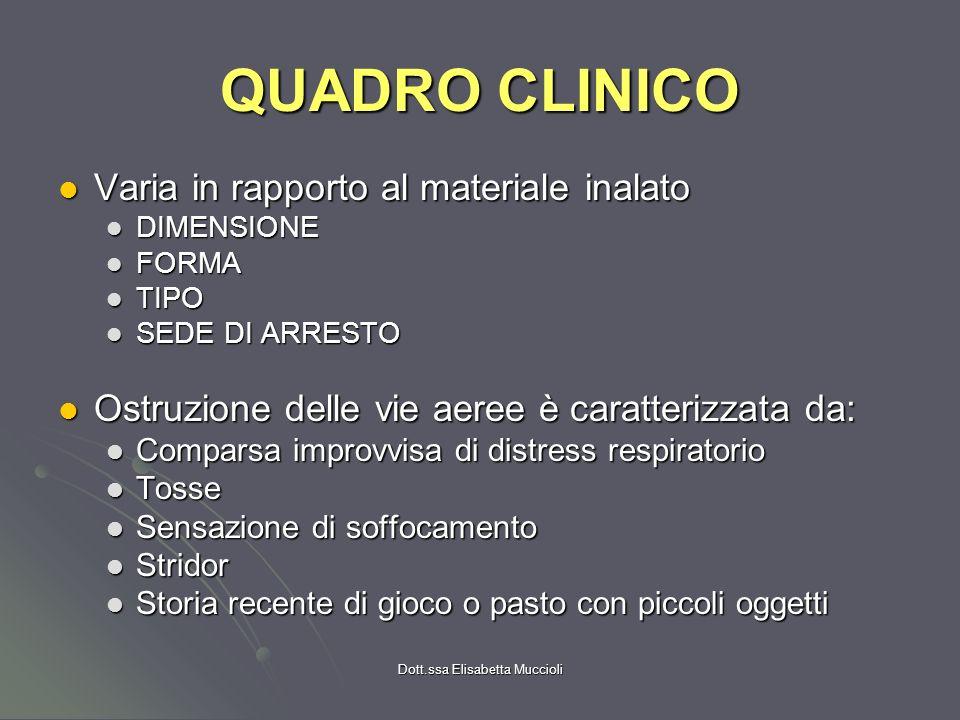 Dott.ssa Elisabetta Muccioli QUADRO CLINICO Varia in rapporto al materiale inalato Varia in rapporto al materiale inalato DIMENSIONE DIMENSIONE FORMA