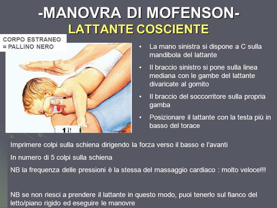 Dott.ssa Elisabetta Muccioli -MANOVRA DI MOFENSON- LATTANTE COSCIENTE La mano sinistra si dispone a C sulla mandibola del lattante Il braccio sinistro