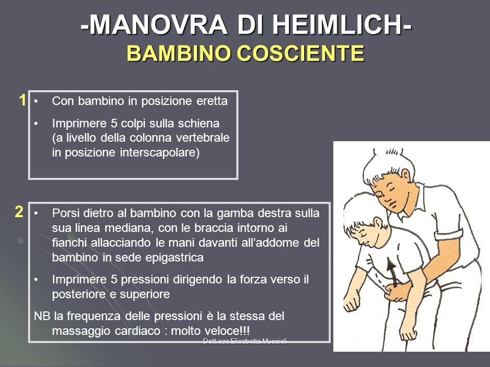 Dott.ssa Elisabetta Muccioli CORPO ESTRANEO INALATO LATTANTE COSCIENTE Valutare efficacia respiro 5 Colpi dorsali 5 compressioni Toraciche Controllare vie aeree