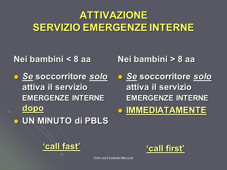 Dott.ssa Elisabetta Muccioli ATTIVAZIONE SERVIZIO EMERGENZE INTERNE Nei bambini < 8 aa Se soccorritore solo attiva il servizio EMERGENZE INTERNE dopo