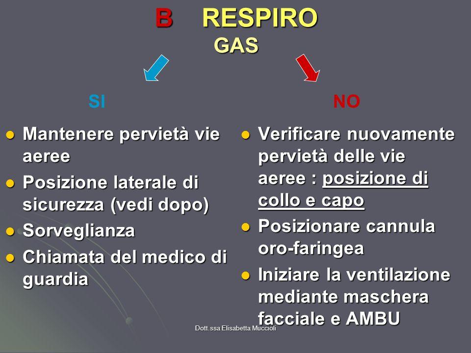 Dott.ssa Elisabetta Muccioli BRESPIRO GAS Mantenere pervietà vie aeree Mantenere pervietà vie aeree Posizione laterale di sicurezza (vedi dopo) Posizi