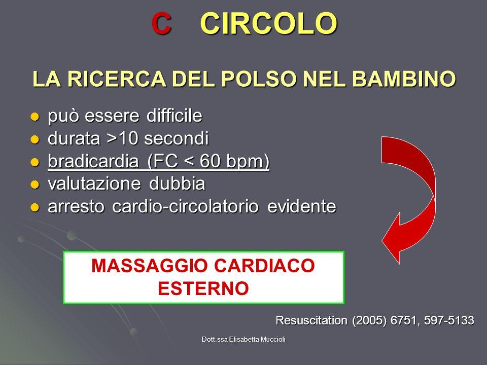 Dott.ssa Elisabetta Muccioli LA RICERCA DEL POLSO NEL BAMBINO può essere difficile può essere difficile durata >10 secondi durata >10 secondi bradicar