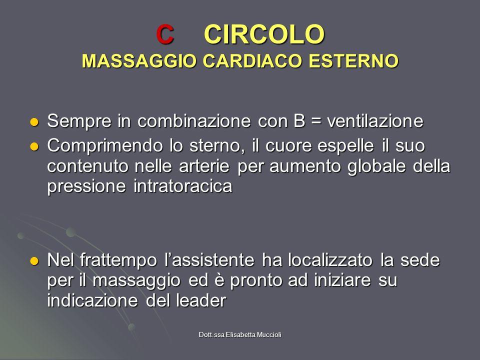 Dott.ssa Elisabetta Muccioli CCIRCOLO MASSAGGIO CARDIACO ESTERNO Sempre in combinazione con B = ventilazione Sempre in combinazione con B = ventilazio