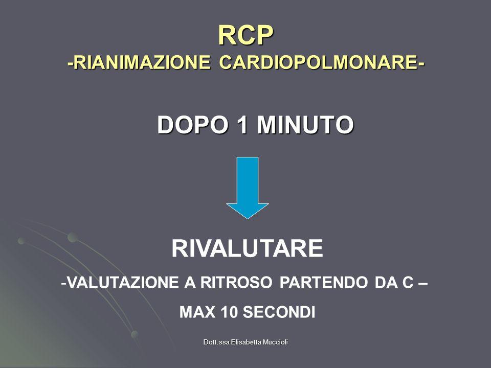 Dott.ssa Elisabetta Muccioli RCP -RIANIMAZIONE CARDIOPOLMONARE- DOPO 1 MINUTO RIVALUTARE -VALUTAZIONE A RITROSO PARTENDO DA C – MAX 10 SECONDI