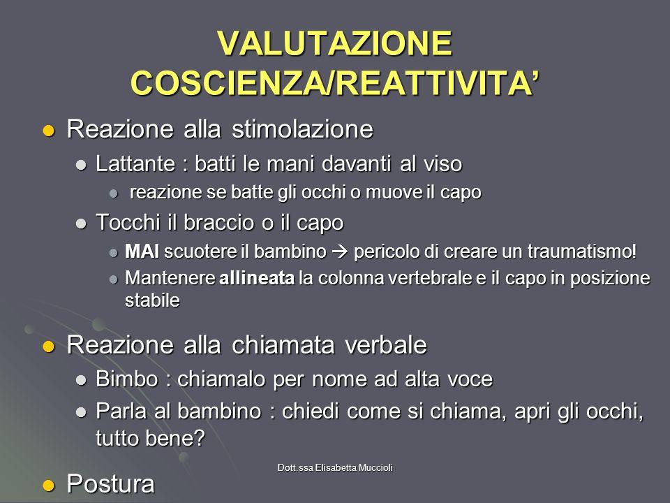 Dott.ssa Elisabetta Muccioli VALUTAZIONE COSCIENZA/REATTIVITA Reazione alla stimolazione Reazione alla stimolazione Lattante : batti le mani davanti a