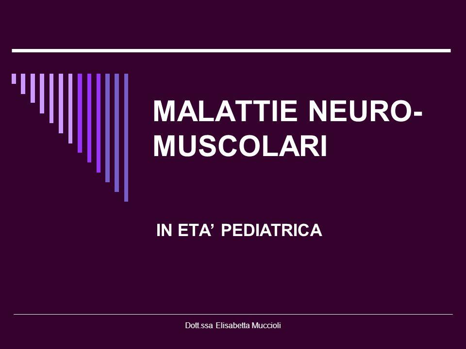 Dott.ssa Elisabetta Muccioli MOTONEURONE SPINALE Genetiche : Atrofie Muscolari Spinali Acquisite : Infettive-poliomielite- NERVO PERIFERICO Genetiche : - Neuropatie motorie sensitive eredo- degenerative - Neuropatie sensitive ereditarie Acquisite: - Forme diffuse - Forme localizzate FIBRA MUSCOLARE Genetiche: - Miastenie - Distrofie muscolari - Miotonie - Miopatie congenite - Miopatie metaboliche Acquisite
