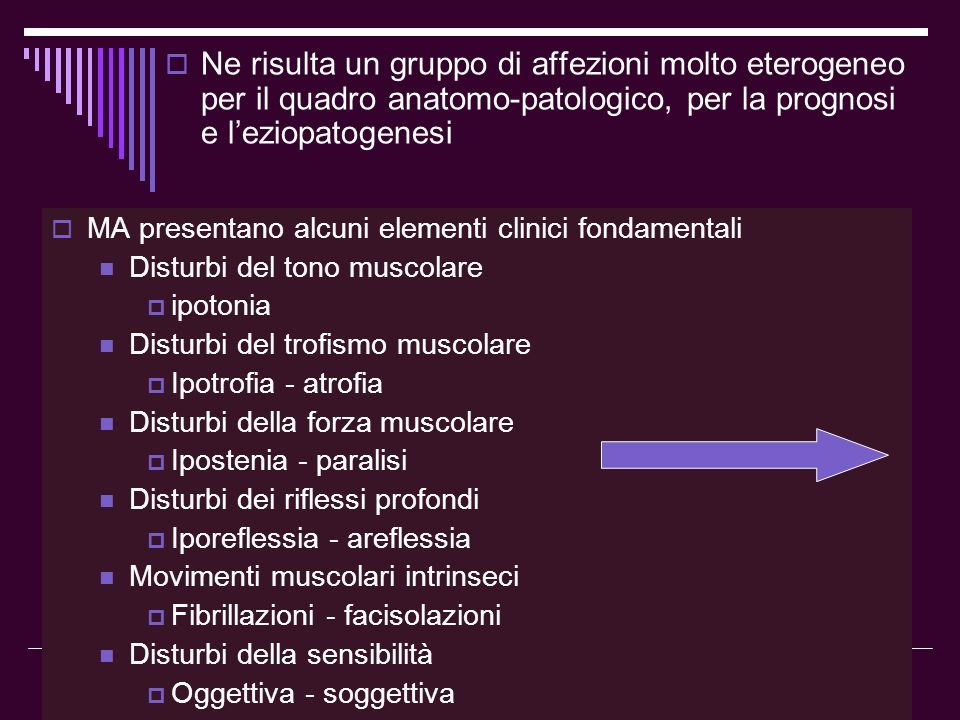 Dott.ssa Elisabetta Muccioli FormaSinonimiGeneticaDecorso clinico AMS tipo IMalattia Werding-Hoffmann- Forma infantile acuta- Amiotonia congenita ARRapido e letale AMS tipo IIForma intermedia-malattia Werding-Hoffmann arrestata ARIntermedio AMS tipo IIISd Kugelberg-Welander-forma cronica-AMS pseudomiopatica ARCronico- stazionario AMS tipo IVForma delladultoAR o AD AMS distaleAMS Charcot-Marie-ToothAR o AD SD scapoloperoneale neurogenaAR o AD o sesso SD facio-scapolo-omerale neurogenaAD