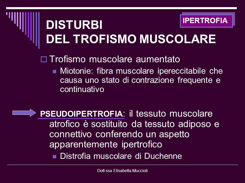 Dott.ssa Elisabetta Muccioli FIBRA MUSCOLARE -GENETICHE- MIOPATIE CONGENITE - Patologie accomunate da clinica: Ipotonia generalizzata presente alla nascita o nei primi mesi di vita Ipotrofia muscolare Assenza o riduzione riflessi osteotendinei Ipostenia con prevalente interessamento prossimale Enzimi sierici muscolari CPK, LDH nella norma Alterazioni ultrastrutturali della fibra muscolare Anomalie: dismorfismi cranio-facciali o alterazioni osteoarticolari (lussazione anca, piede piatto, faccia allungata…) Diagnosi istologico e immunoenzimatica Terapia : intervento neuromotorio FKT o farmacoterapia o chirurgia funzionale