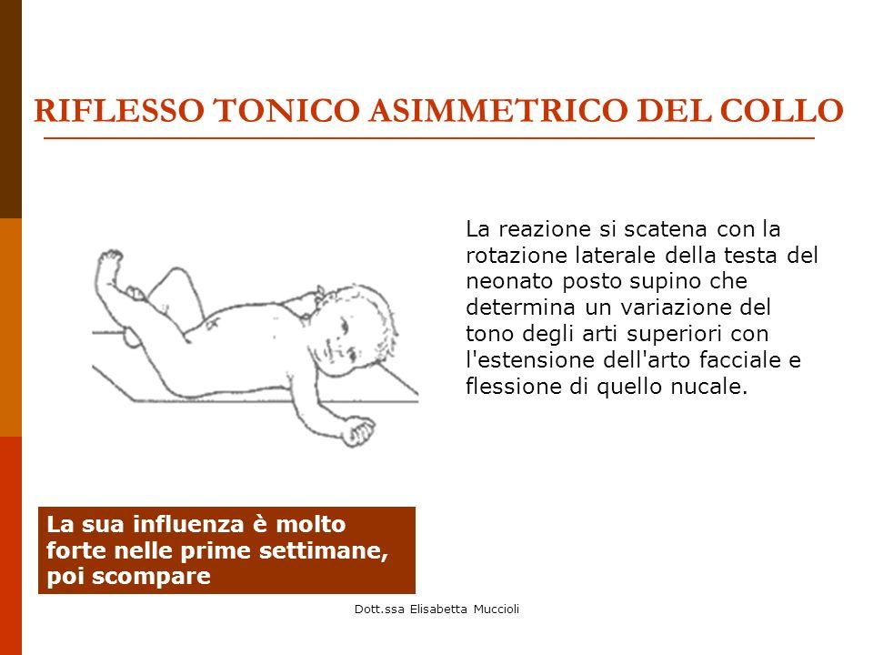 Dott.ssa Elisabetta Muccioli RIFLESSO TONICO ASIMMETRICO DEL COLLO La reazione si scatena con la rotazione laterale della testa del neonato posto supi