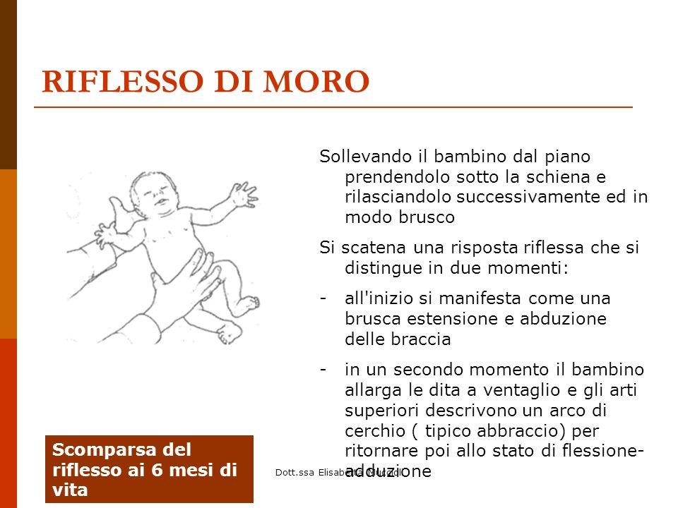 Dott.ssa Elisabetta Muccioli RIFLESSO DI MORO Sollevando il bambino dal piano prendendolo sotto la schiena e rilasciandolo successivamente ed in modo