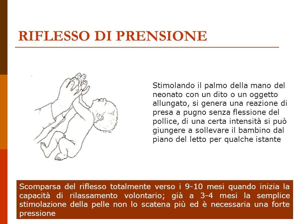 Dott.ssa Elisabetta Muccioli RIFLESSO DI PRENSIONE Stimolando il palmo della mano del neonato con un dito o un oggetto allungato, si genera una reazio