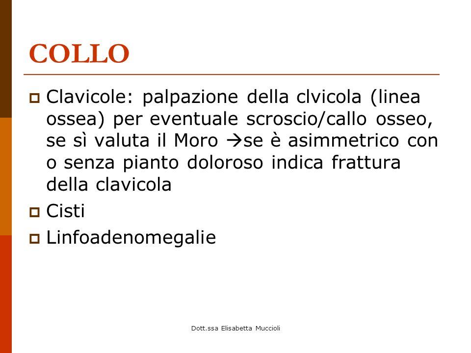 Dott.ssa Elisabetta Muccioli COLLO Clavicole: palpazione della clvicola (linea ossea) per eventuale scroscio/callo osseo, se sì valuta il Moro se è as