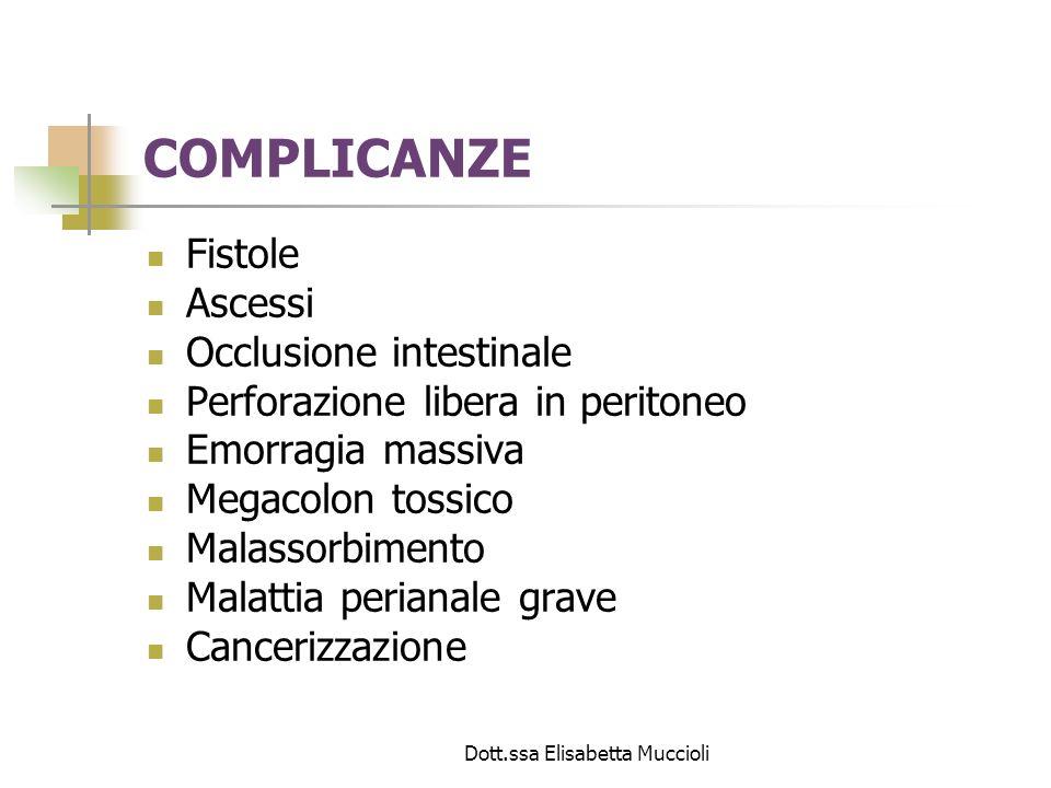 Dott.ssa Elisabetta Muccioli COMPLICANZE Fistole Ascessi Occlusione intestinale Perforazione libera in peritoneo Emorragia massiva Megacolon tossico M