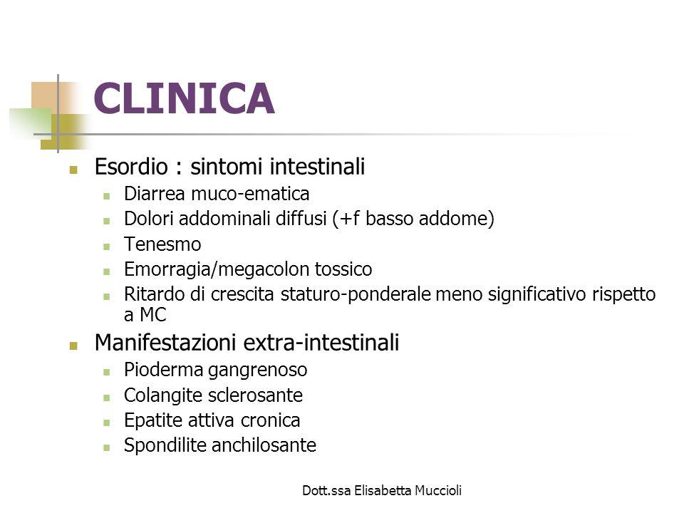 Dott.ssa Elisabetta Muccioli CLINICA Esordio : sintomi intestinali Diarrea muco-ematica Dolori addominali diffusi (+f basso addome) Tenesmo Emorragia/
