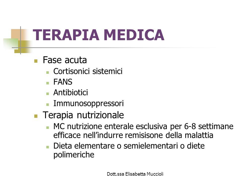 Dott.ssa Elisabetta Muccioli TERAPIA MEDICA Fase acuta Cortisonici sistemici FANS Antibiotici Immunosoppressori Terapia nutrizionale MC nutrizione ent