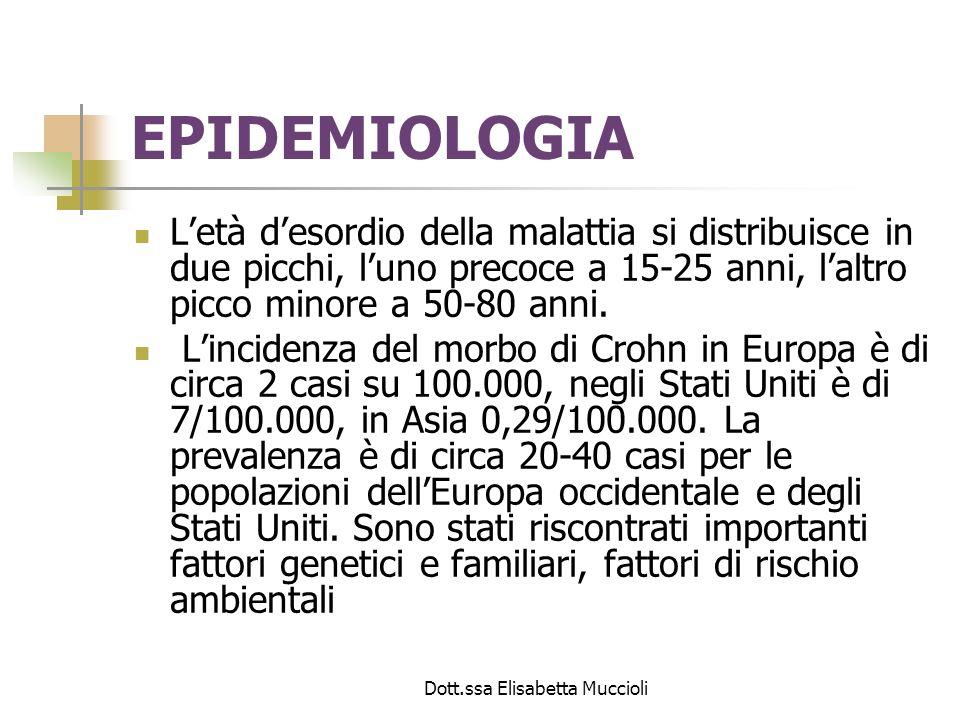 Dott.ssa Elisabetta Muccioli EPIDEMIOLOGIA Letà desordio della malattia si distribuisce in due picchi, luno precoce a 15-25 anni, laltro picco minore