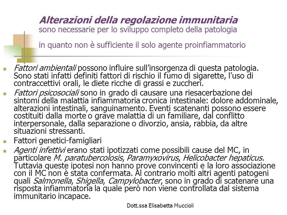 Dott.ssa Elisabetta Muccioli Dunque le IBD possiedono una risposta immunitaria alterata nei confronti della flora microbica endogena, presente allinterno dellintestino.