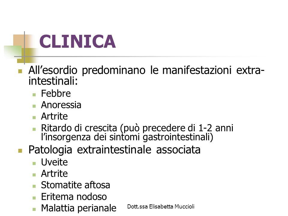 Dott.ssa Elisabetta Muccioli Lesioni macroscopicheLesioni microscopiche Distribuzione discontinuaAggregati linfocitari-macrofagici locali, granulomi Ispessimento parietaleEdema, ispessimento muscolare, fibrosi FissurazioniUlcere profonde e poco estese Distribuzione transmuraleImpegno infiammatorio di tutte le tuniche SierositàInfiltrati infiammatori perivascolari StenosiFibrosi, edema Aspetto a selciatoAggregati linfocitari-macrofagici focali, granulomi, edema della mucosae della sottomucosa Ulcere aftoidiUlcere superficiali con aggregati linfocitari- macrofagici focali nella mucosa Tabella 2.