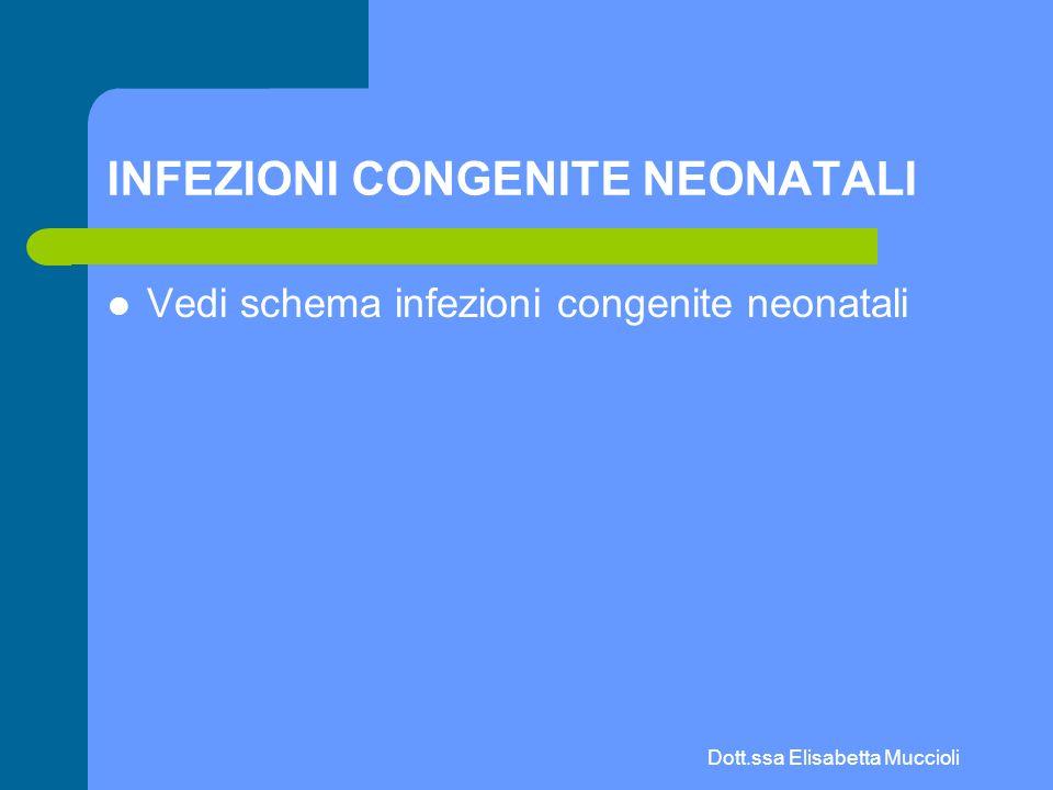 Dott.ssa Elisabetta Muccioli INFEZIONI CONGENITE NEONATALI Vedi schema infezioni congenite neonatali