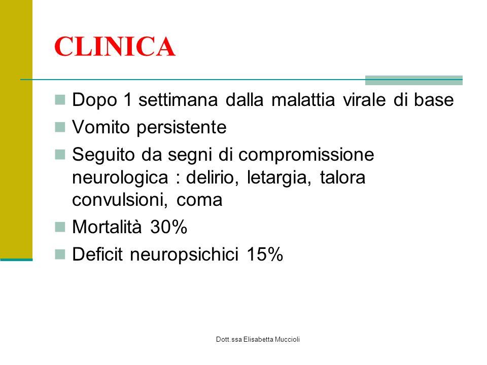 Dott.ssa Elisabetta Muccioli DIAGNOSI Clinica Laboratorio Aumento transaminasi, CPK, LDH, ammonio Ipoglicemia ipoprotrombinemia
