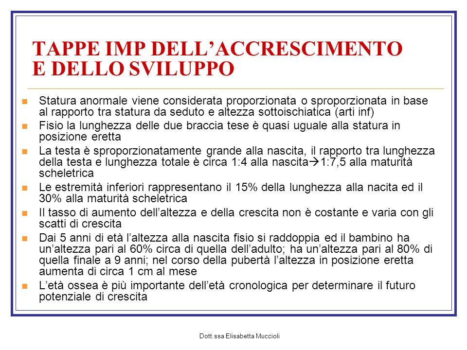 Dott.ssa Elisabetta Muccioli TAPPE IMP DELLACCRESCIMENTO E DELLO SVILUPPO Statura anormale viene considerata proporzionata o sproporzionata in base al
