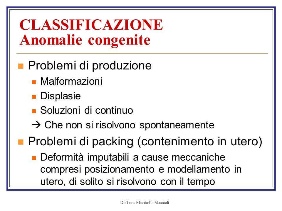 Dott.ssa Elisabetta Muccioli CLASSIFICAZIONE Anomalie congenite Problemi di produzione Malformazioni Displasie Soluzioni di continuo Che non si risolv